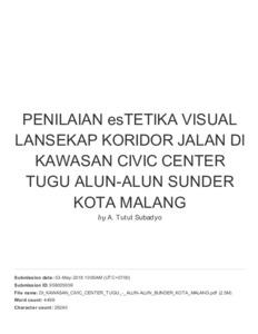 Penilaian Estetika Visual Lansekap Koridor Jalan Di Kawasan Civic Center Tugu Alun Alun Bunder Kota Malang University Of Merdeka Malang Repository